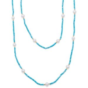 Endless Turquoise Magnesite & Pearl Necklace